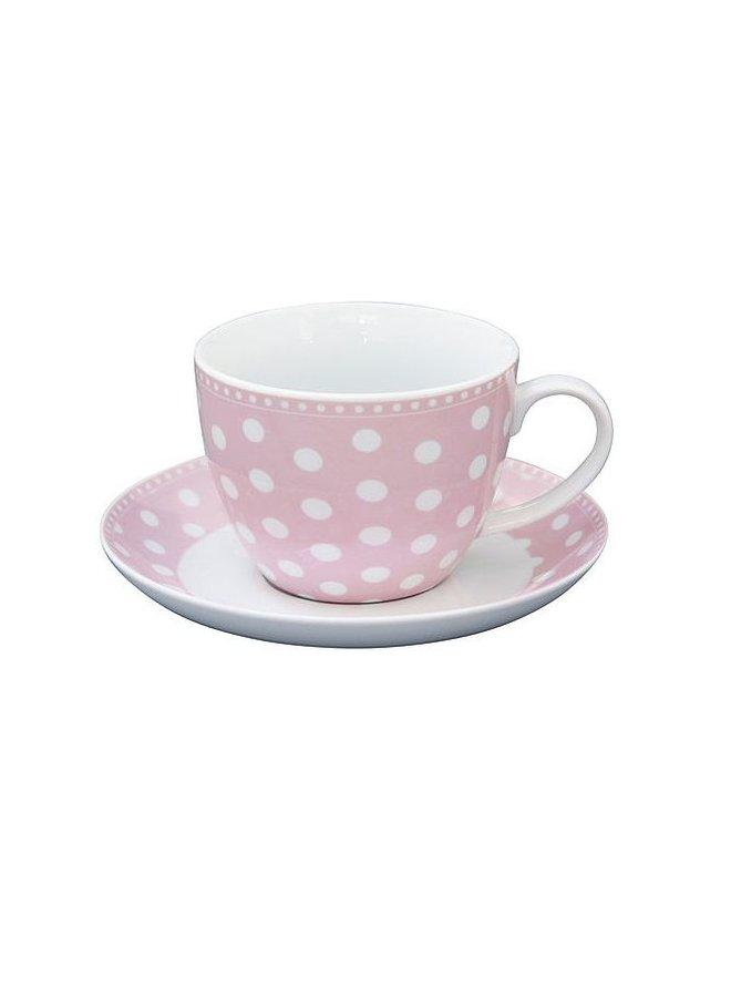 Tasse mit Unterteller | Cup and Saucer - Dot Pink