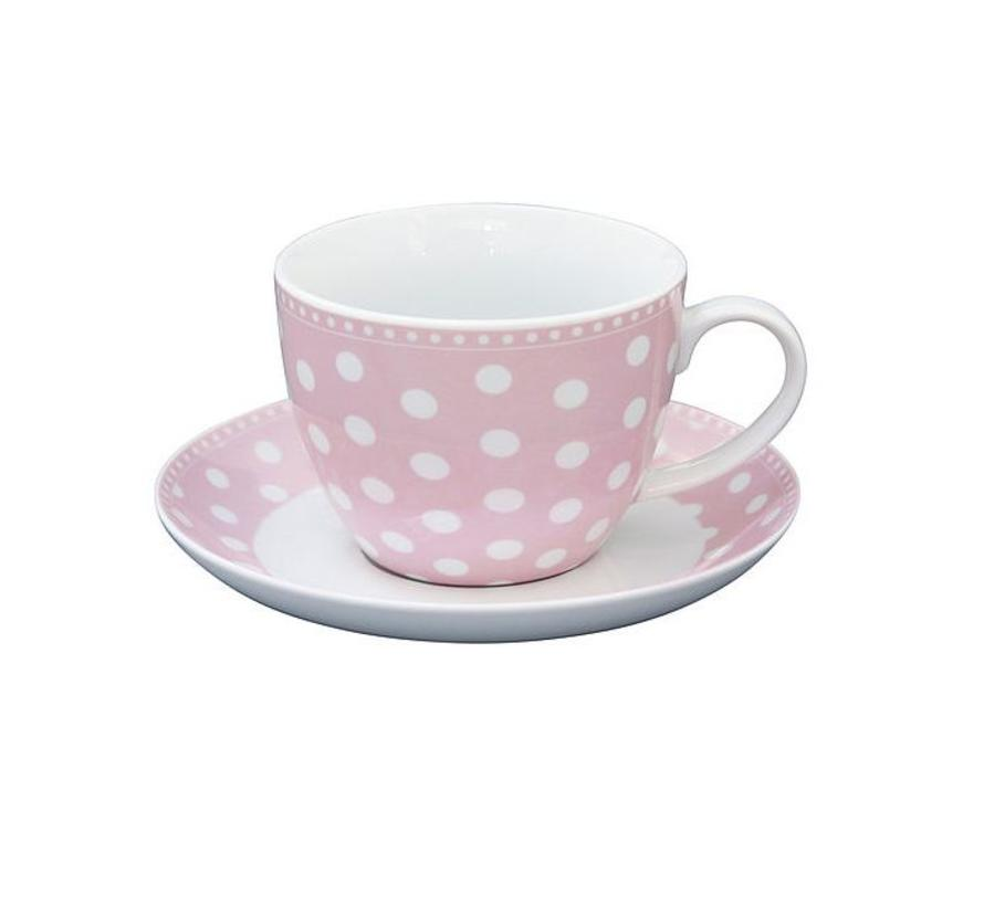 Tasse mit Unterteller | Cup and Saucer | Dot Pink