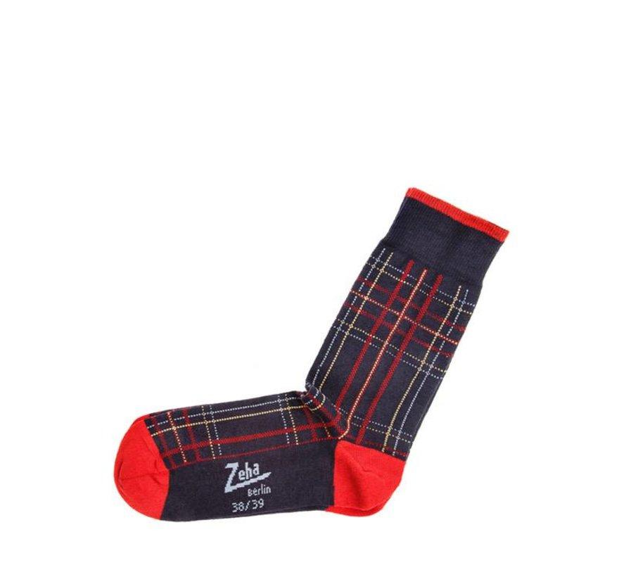 Socken   Mittel   dunkelblau/rot/gelb/hellblau