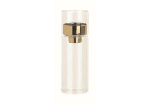 Teelichthalter Glas mit Goldeinsatz   Ø6.4 x 19 cm