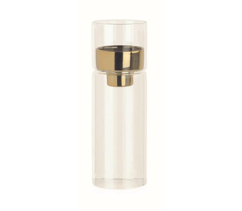 Teelichthalter Glas mit Goldeinsatz | Ø6.4 x 19 cm