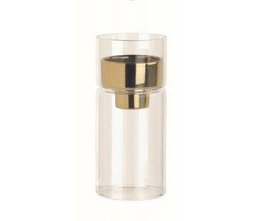 Teelichthalter Glas mit Goldeinsatz | Ø6.4 x 14.5 cm