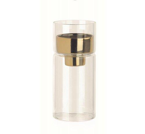 Teelichthalter Glas mit Goldeinsatz   Ø6.4 x 14.5 cm