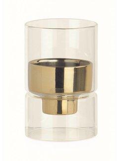 Teelichthalter Glas mit Goldeinsatz | Ø6.4 x 10 cm