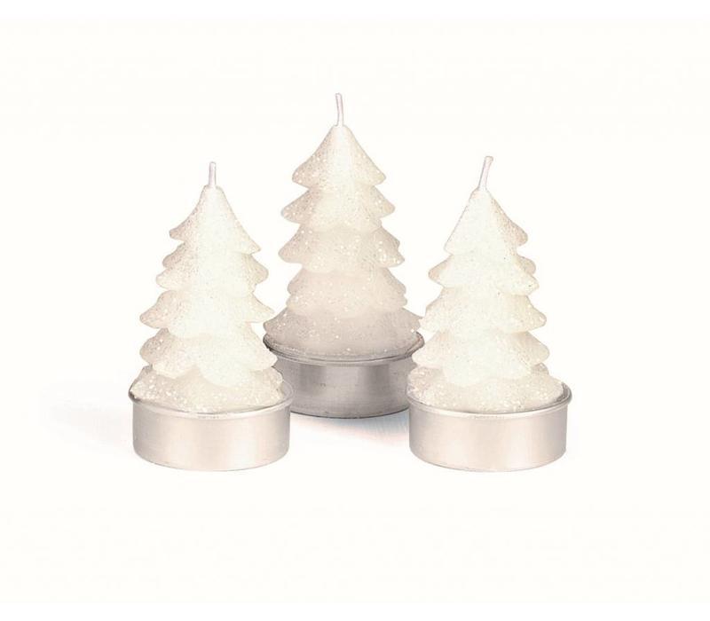 Teelicht Winterzauber   Tanne Weiss   6er Pack