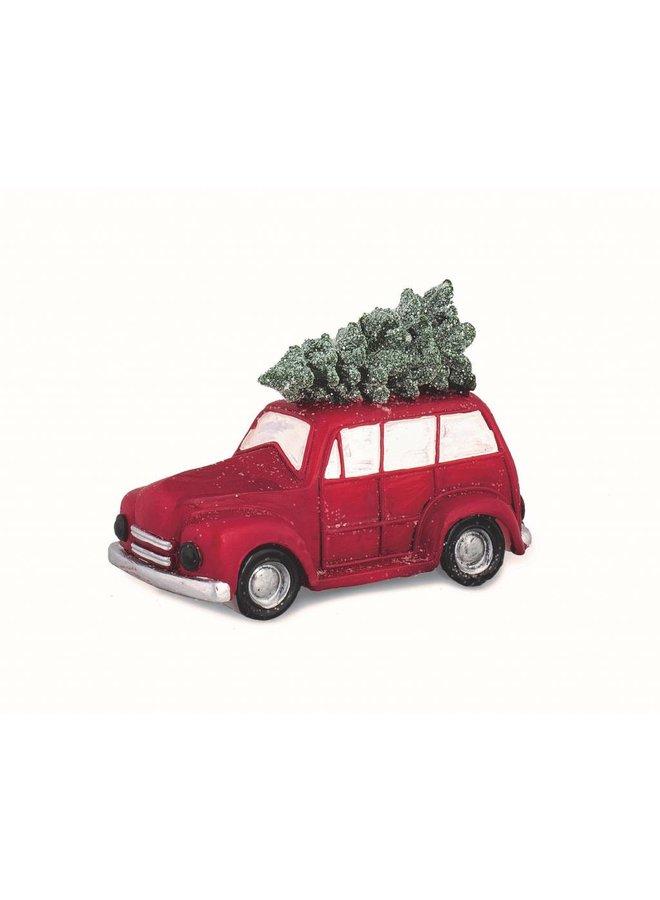 Kerze | Auto mit Weihnachtsbaum | 14 cm
