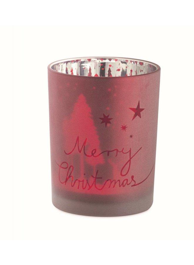"""Teelichthalter """"Merry Christmas""""   Rot gross"""
