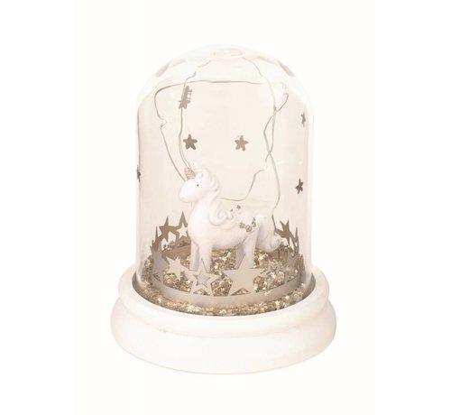 Einhorn Schneekugel mit glitter Sternen und LED Licht