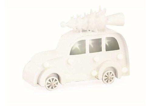 Auto mit Christbaum auf Dach   Weiss mit LED Licht   Gross
