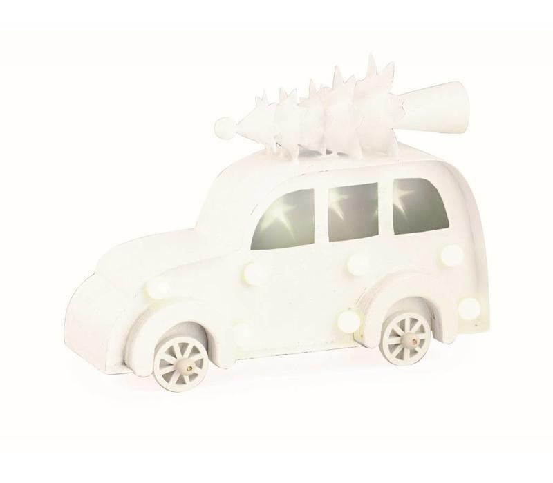 Auto mit Christbaum auf Dach | Weiss mit LED Licht | Gross