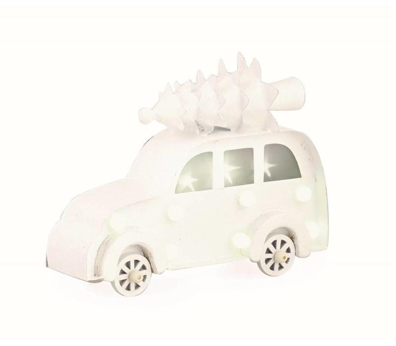Auto mit Christbaum auf Dach   Weiss mit LED Licht   Mittel