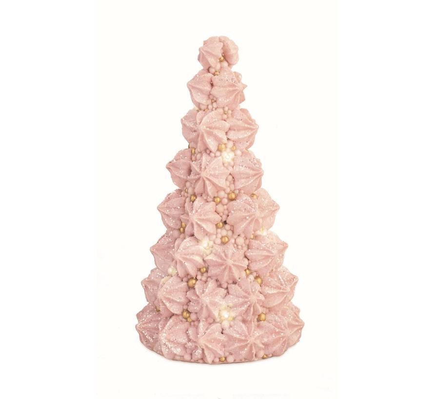 Deko Meringue Torte Rosa-Gold mit LED Licht