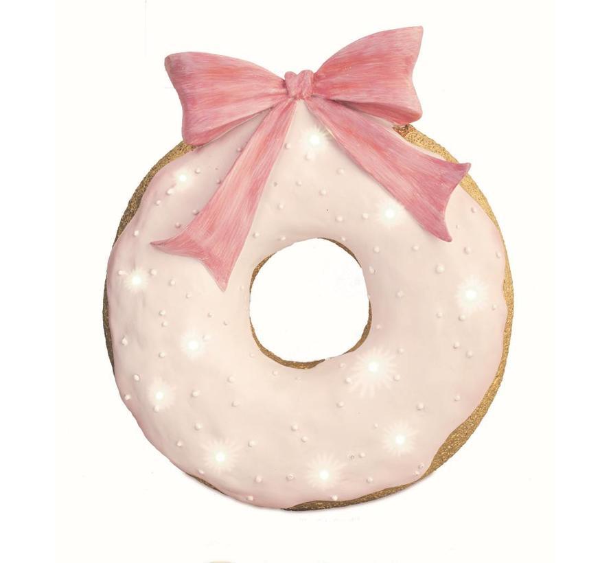 Deko Donut mit Masche | Rosa-Gold mit LED Licht