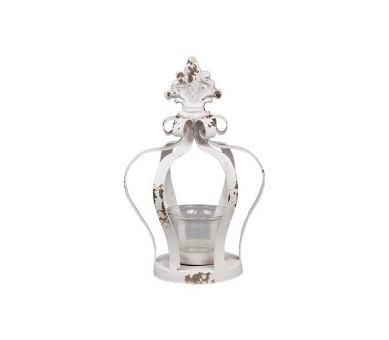 Teelichthalter Shabby Krone | Antikweiss
