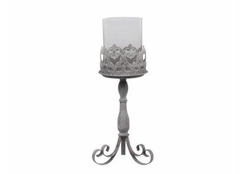 Chic Antique Kerzenständer mit Glas | Shabby Chic | Gross