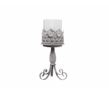 Chic Antique Kerzenständer mit Glas | Shabby Chic | Mittel