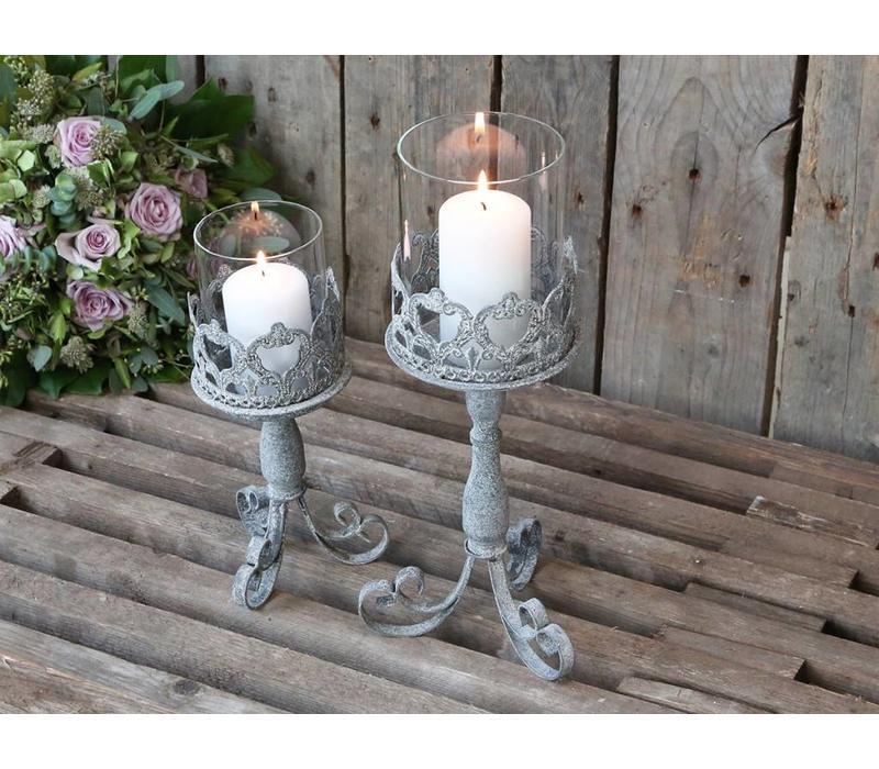 Kerzenständer mit Glas | Shabby Chic | Mittel