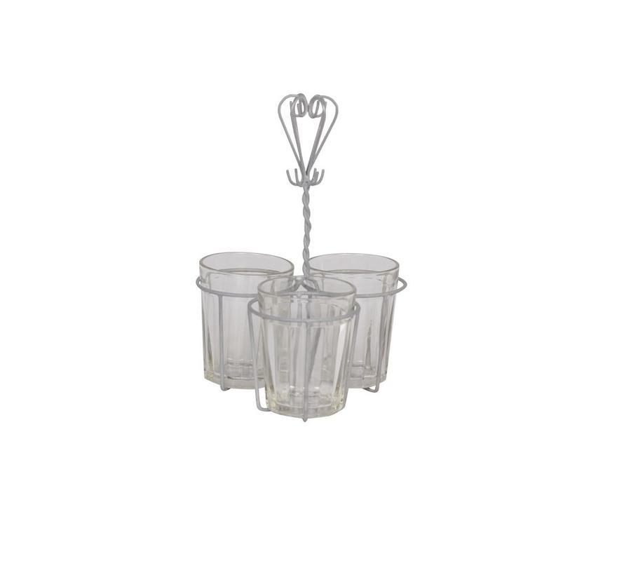Teelichthalter mit 3 Gläser | Shabby Chic | Antikgrau