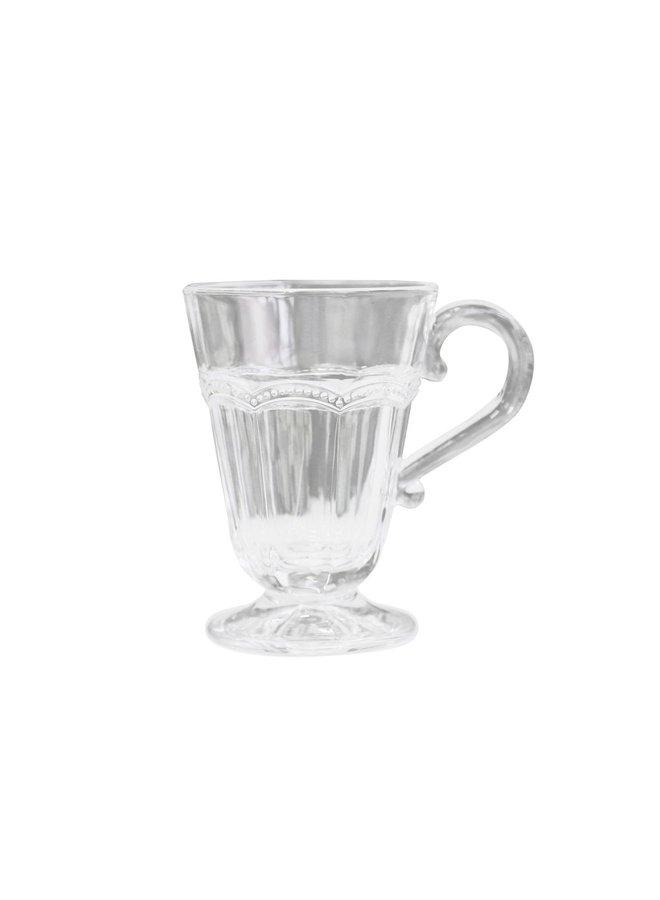 Teeglas Antoinette mit Perlenkante - weiss