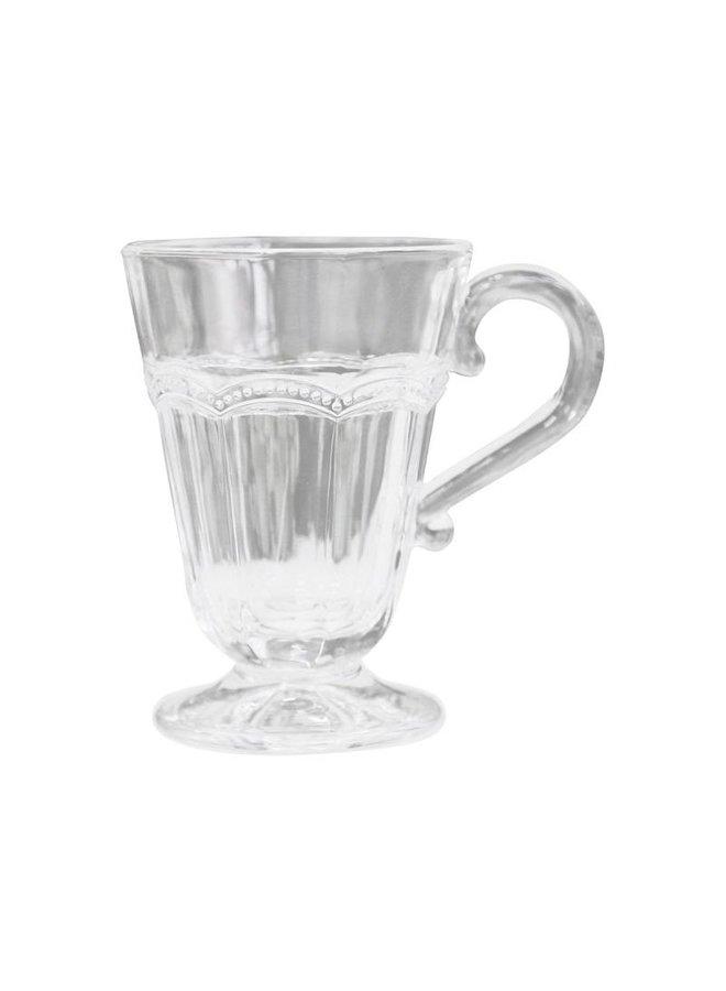 Teeglas Antoinette | mit Perlenkante | weiss