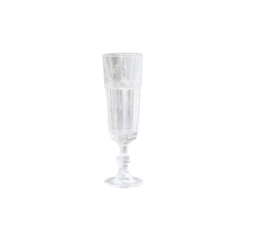 Champagnerglas Antoinette | mit Perlenkante | weiss