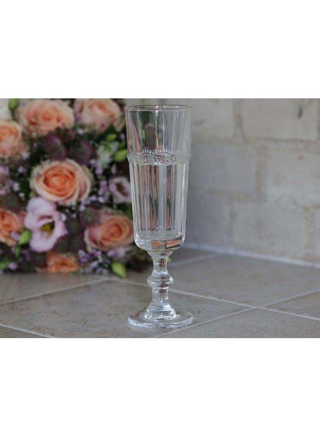 Champagnerglas Antoinette mit Perlenkante - Weiss