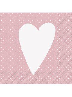 Servietten 30x30cm | Herz Rosa