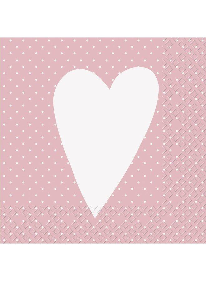 Servietten 30x30cm - Herz Rosa