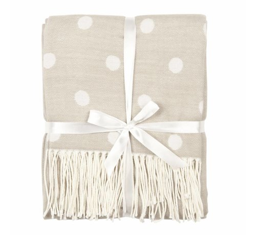 Clayre & Eef Plaid | Taupe Punkt Weiss