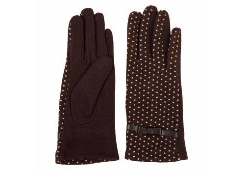 Clayre & Eef Handschuhe | Dunkelbraun - Punkte Weiss