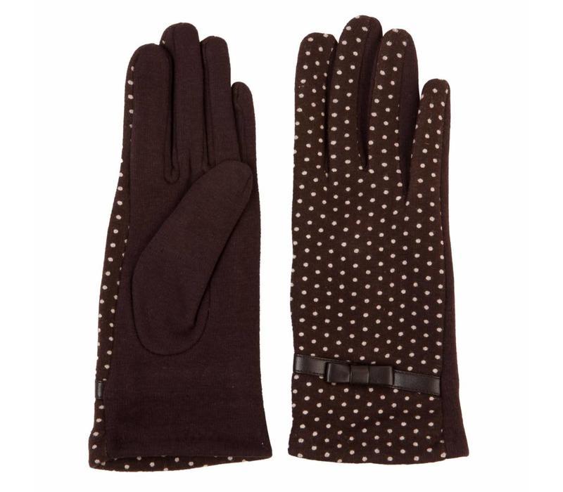 Handschuhe   Dunkelbraun - Punkte Weiss