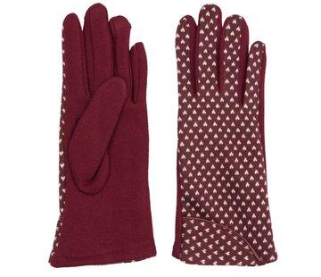 Clayre & Eef Handschuhe | Dunkelrot mit weissem Herz