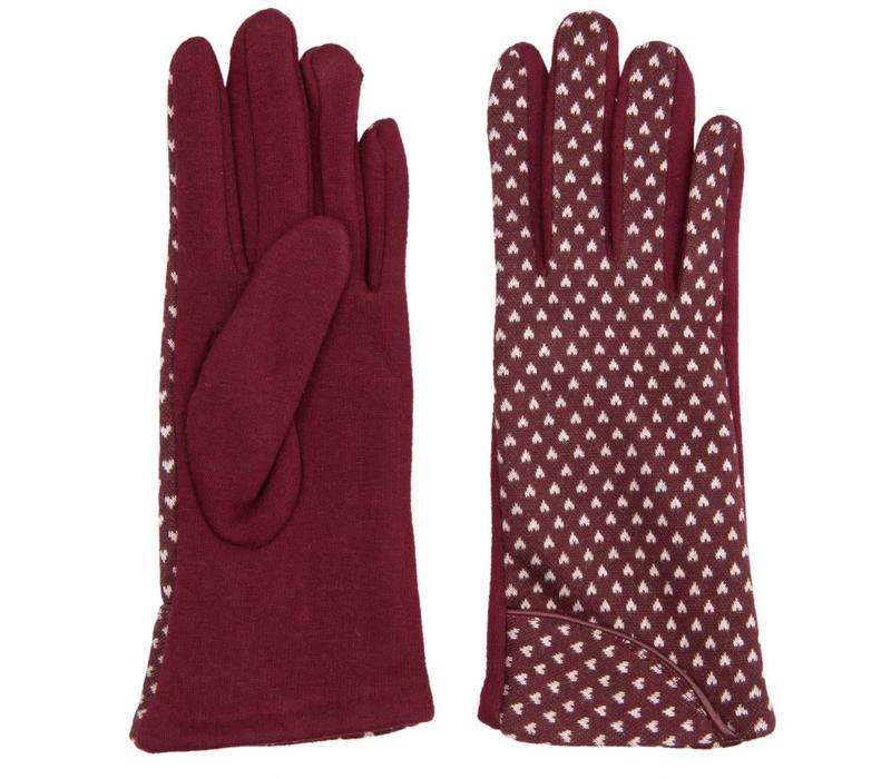 Handschuhe | Dunkelrot mit weissem Herz