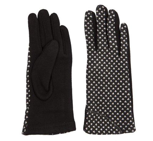Clayre & Eef Handschuhe | Schwarz mit weissem Herz
