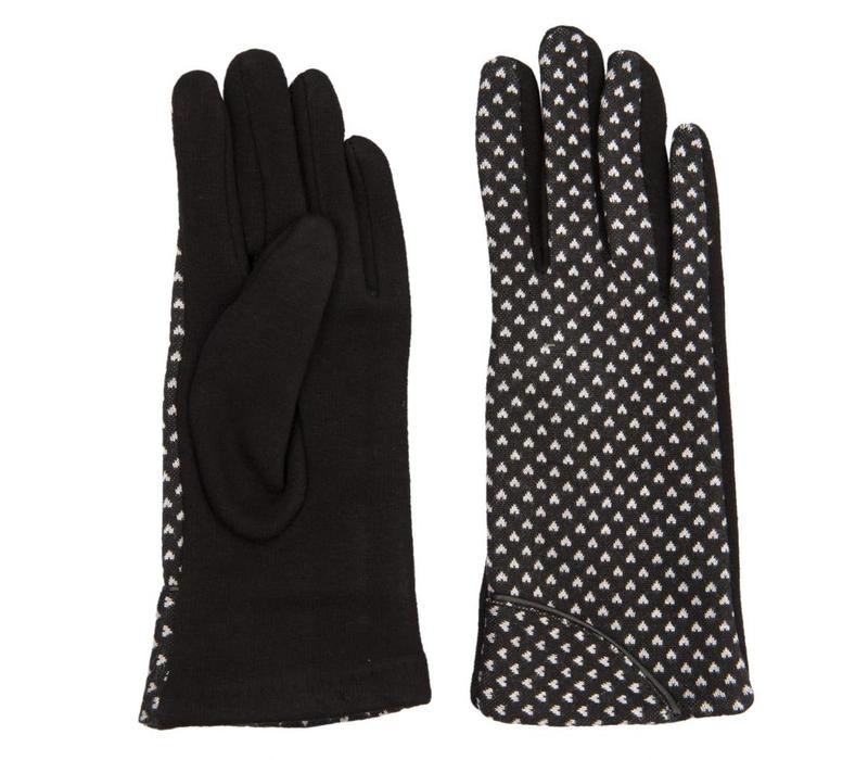 Handschuhe | Schwarz mit weissem Herz