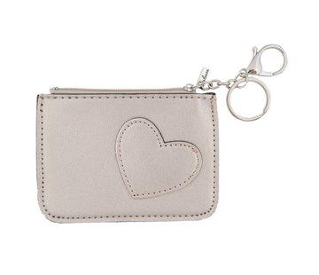 Clayre & Eef Schlüsseletui - Portemonnaie - Geldbörse | Sweet heart - Silber
