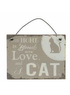 Clayre & Eef Blechschild  | Home with Cat | 10x8cm