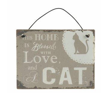 Clayre & Eef Blechschild  | Home with Cat | 10x8cm