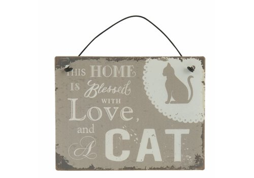 Clayre & Eef Blechschild    Home with Cat   10x8cm