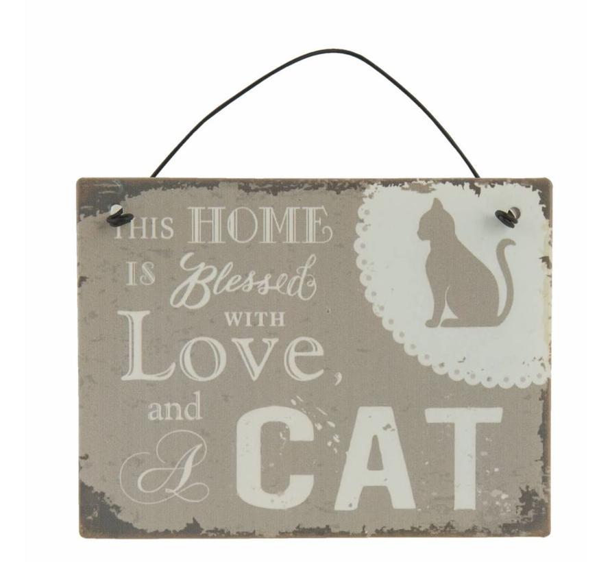 Blechschild  | Home with Cat | 10x8cm