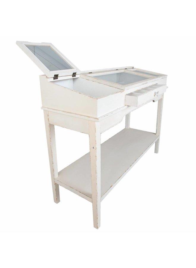 Schmucktisch | Schmuckkonsole mit Glas | 130x46x97 cm.