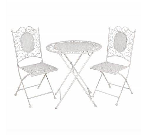 Clayre & Eef Gartentisch mit 2 Stühlen | Komplettes Set in GRAU