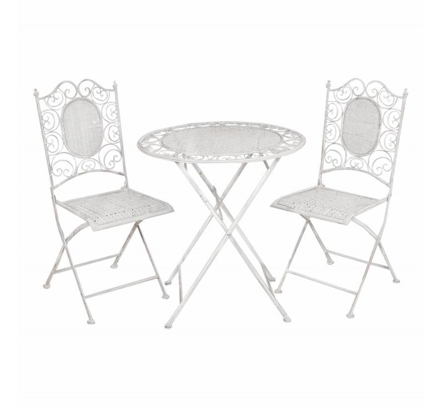 Gartentisch mit 2 Stühlen | Komplettes Set in GRAU