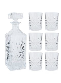 Clayre & Eef Whisky Flasche und Gläser Set | 7-Teilig