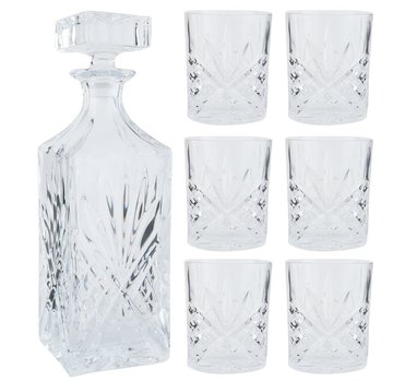 Clayre & Eef Whisky Flasche und Gläser Set   7-Teilig