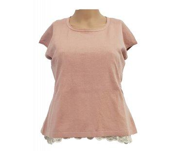 DEHA Pullover Shirt mit Spitzenunterteil - soft pink