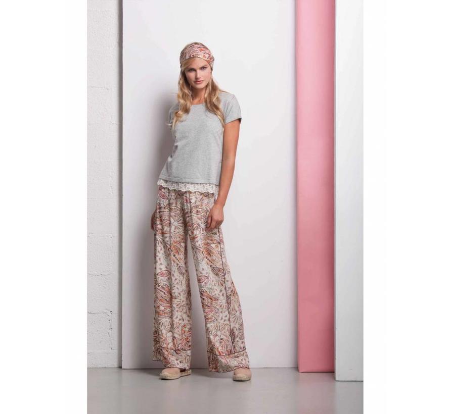 Pullover Shirt mit Spitzenunterteil - soft pink
