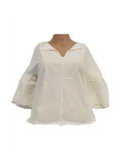 DEHA Bluse mit 3/4 Ärmeln mit Spitzen - lily white