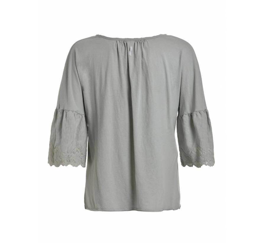 Bluse mit 3/4 Ärmeln mit Spitzen - lily white
