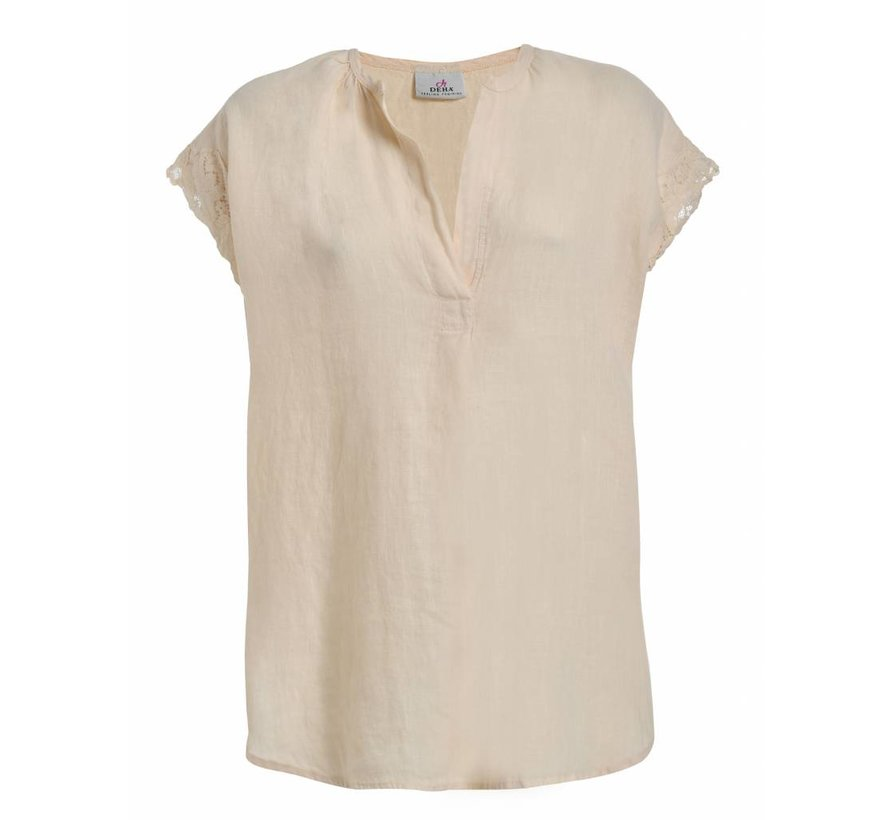 Kurze Bluse aus Leinen - Lily White